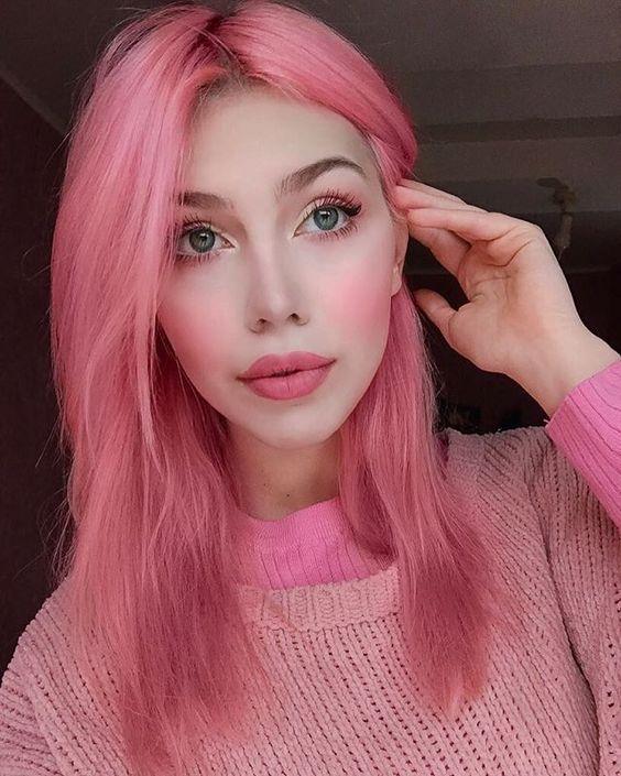 anilina rosa nos cabelos