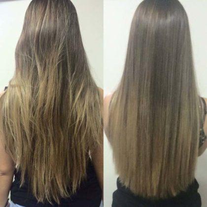 Corte bordado antes e depois