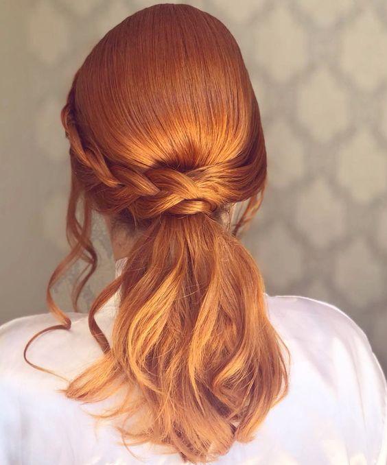 Penteados para festa cabelos médios ruivos