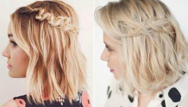 penteados penteados com Tranças para cabelo curtos