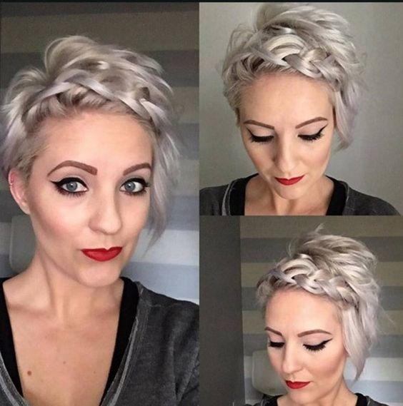 Trança para cabelos curtos platinados
