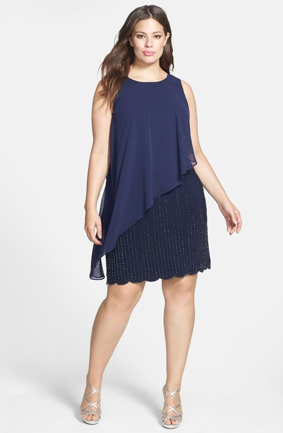 Vestido Plus size 2020 azul marinho