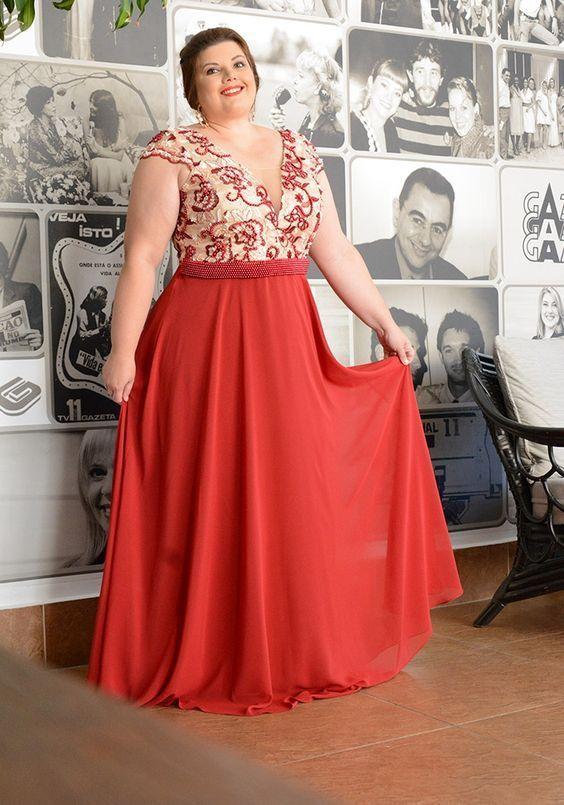 Vestidos Plus size vermelho 2020